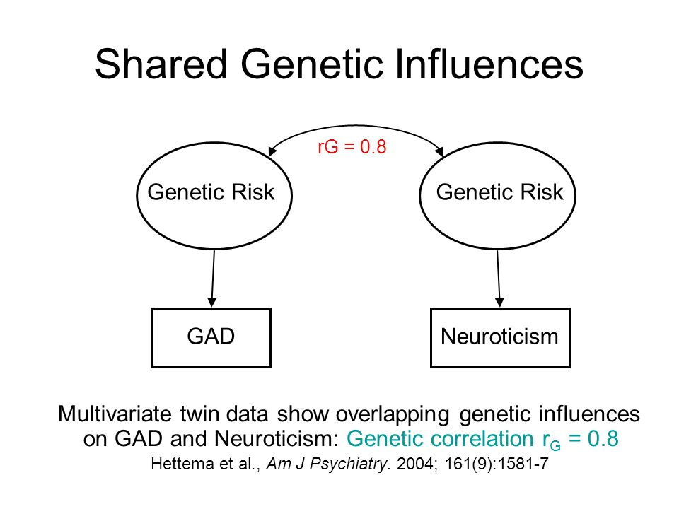 Shared Genetic Influences Multivariate twin data show overlapping genetic influences on GAD and Neuroticism: Genetic correlation r G = 0.8 Hettema et al., Am J Psychiatry.