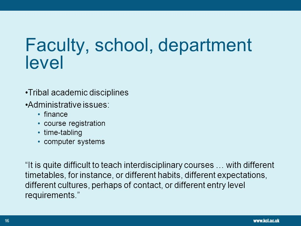 16 Faculty, school, department level Tribal academic disciplines Administrative issues: finance course registration time-tabling computer systems It is quite difficult to teach interdisciplinary courses … with different timetables, for instance, or different habits, different expectations, different cultures, perhaps of contact, or different entry level requirements.