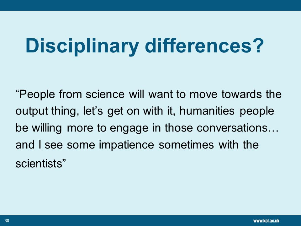 30 Disciplinary differences.