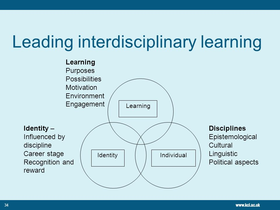 34 Leading interdisciplinary learning Identity Individual Learning Purposes Possibilities Motivation Environment Engagement Identity – Influenced by discipline Career stage Recognition and reward Disciplines Epistemological Cultural Linguistic Political aspects