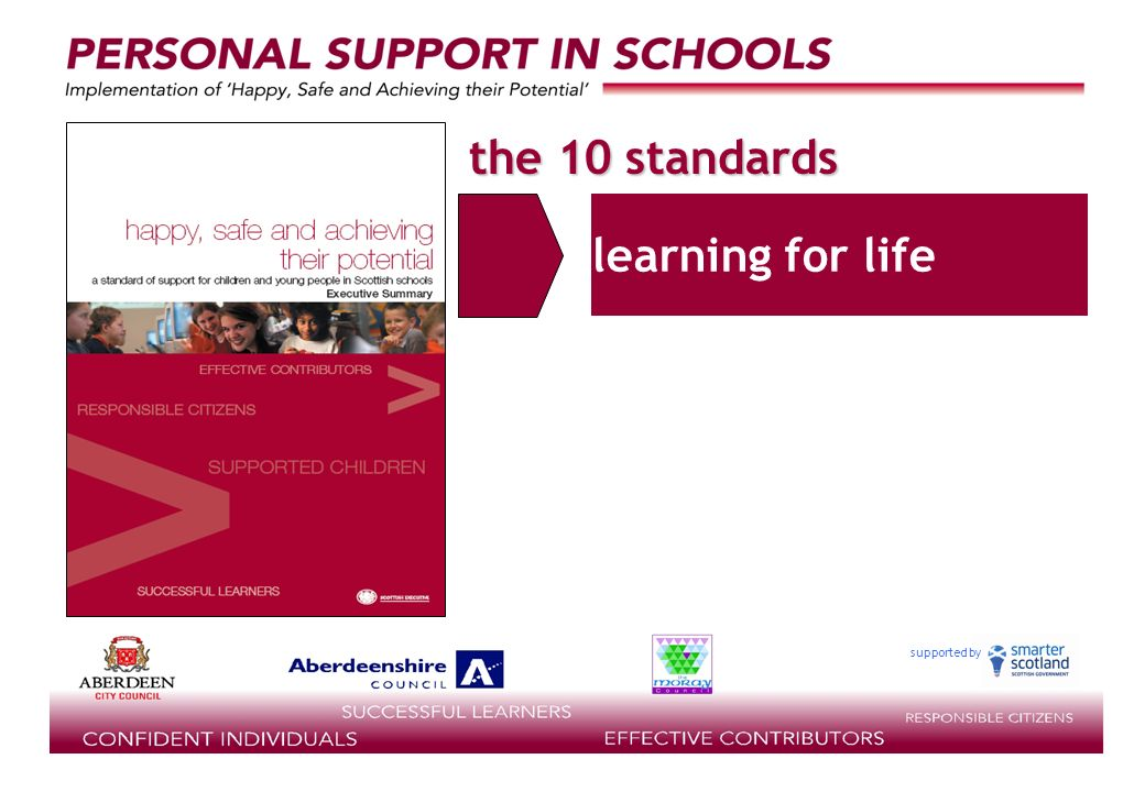 supported by the 10 standards learning for life
