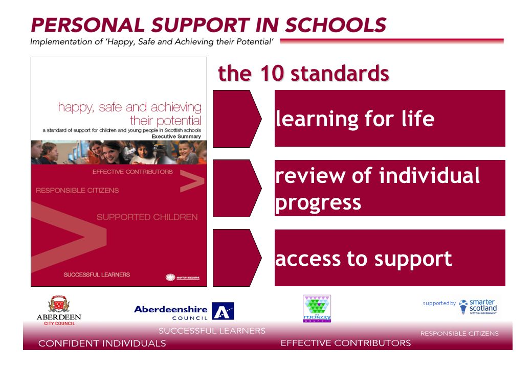 supported by the 10 standards learning for life review of individual progress access to support