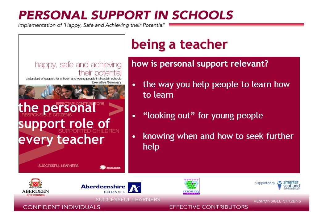 supported by being a teacher how is personal support relevant.