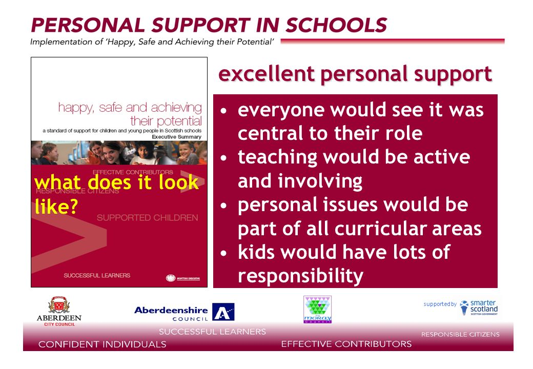supported by everyone would see it was central to their role teaching would be active and involving personal issues would be part of all curricular areas kids would have lots of responsibility excellent personal support what does it look like
