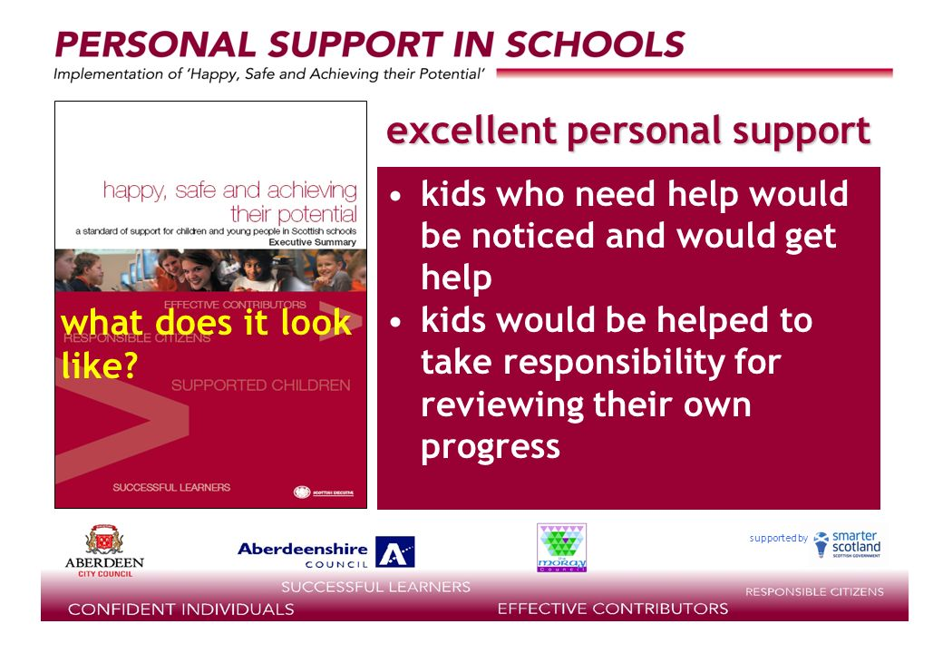 supported by kids who need help would be noticed and would get help kids would be helped to take responsibility for reviewing their own progress excellent personal support what does it look like