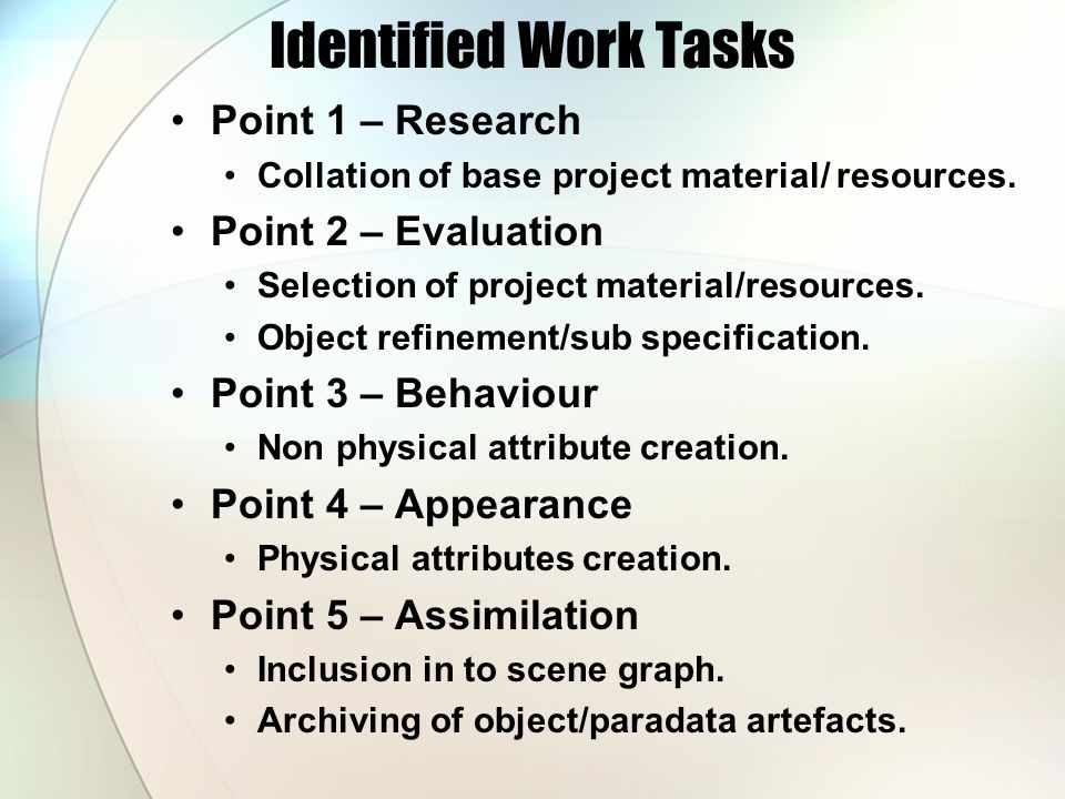 Identified Work Tasks Point 1 – Research Collation of base project material/ resources.