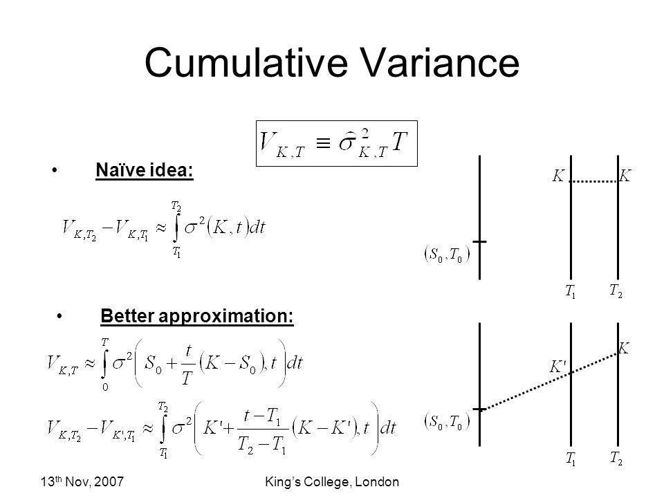 13 th Nov, 2007Kings College, London Cumulative Variance Naïve idea: Better approximation: