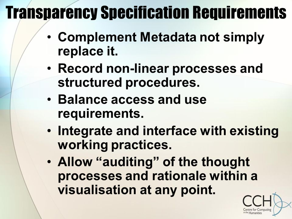 Transparency Specification Requirements Complement Metadata not simply replace it.