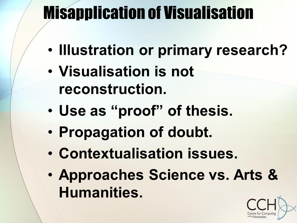 Misapplication of Visualisation Illustration or primary research.