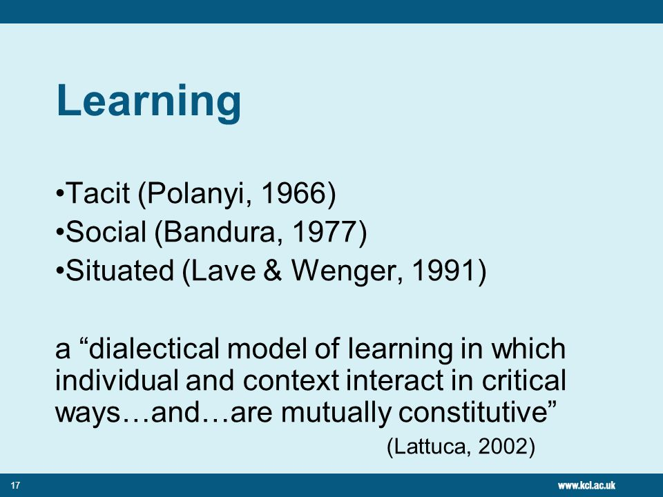 17 Learning Tacit (Polanyi, 1966) Social (Bandura, 1977) Situated (Lave & Wenger, 1991) a dialectical model of learning in which individual and context interact in critical ways…and…are mutually constitutive (Lattuca, 2002)
