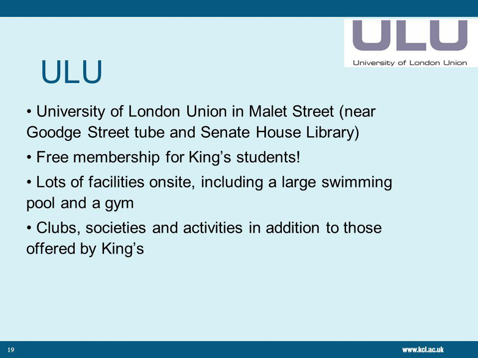 ULU University of London Union in Malet Street (near Goodge Street tube and Senate House Library) Free membership for Kings students.
