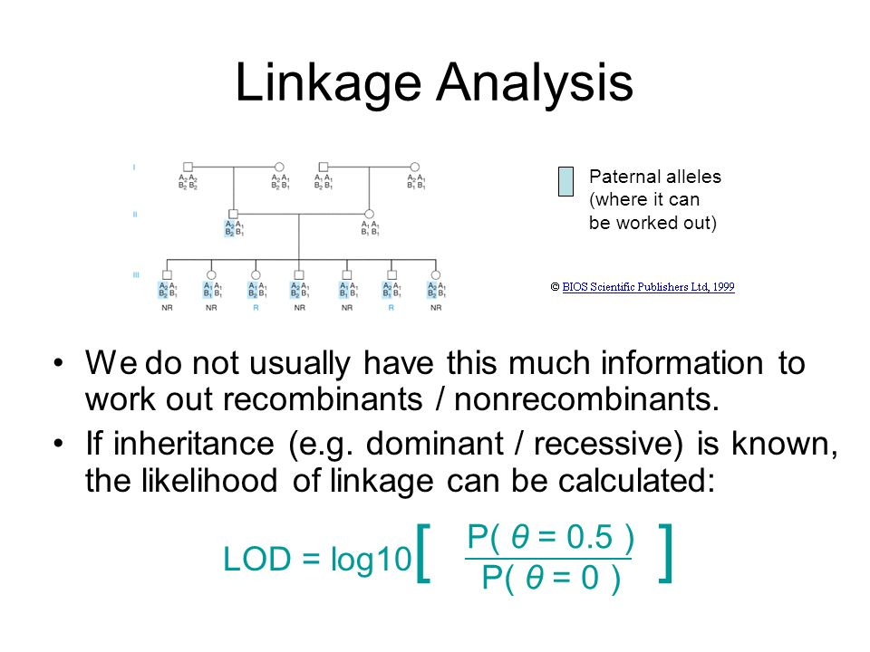Linkage Analysis We do not usually have this much information to work out recombinants / nonrecombinants. If inheritance (e.g. dominant / recessive) i