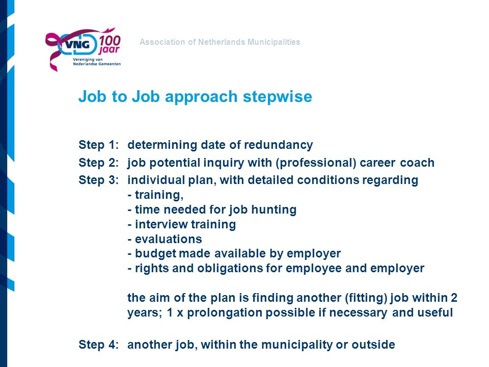 Association of Netherlands Municipalities Job to Job approach stepwise Step 1:determining date of redundancy Step 2:job potential inquiry with (professional) career coach Step 3:individual plan, with detailed conditions regarding - training, - time needed for job hunting - interview training - evaluations - budget made available by employer - rights and obligations for employee and employer the aim of the plan is finding another (fitting) job within 2 years; 1 x prolongation possible if necessary and useful Step 4:another job, within the municipality or outside