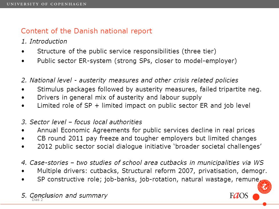 24-04-2014 Dias 2 Content of the Danish national report 1.