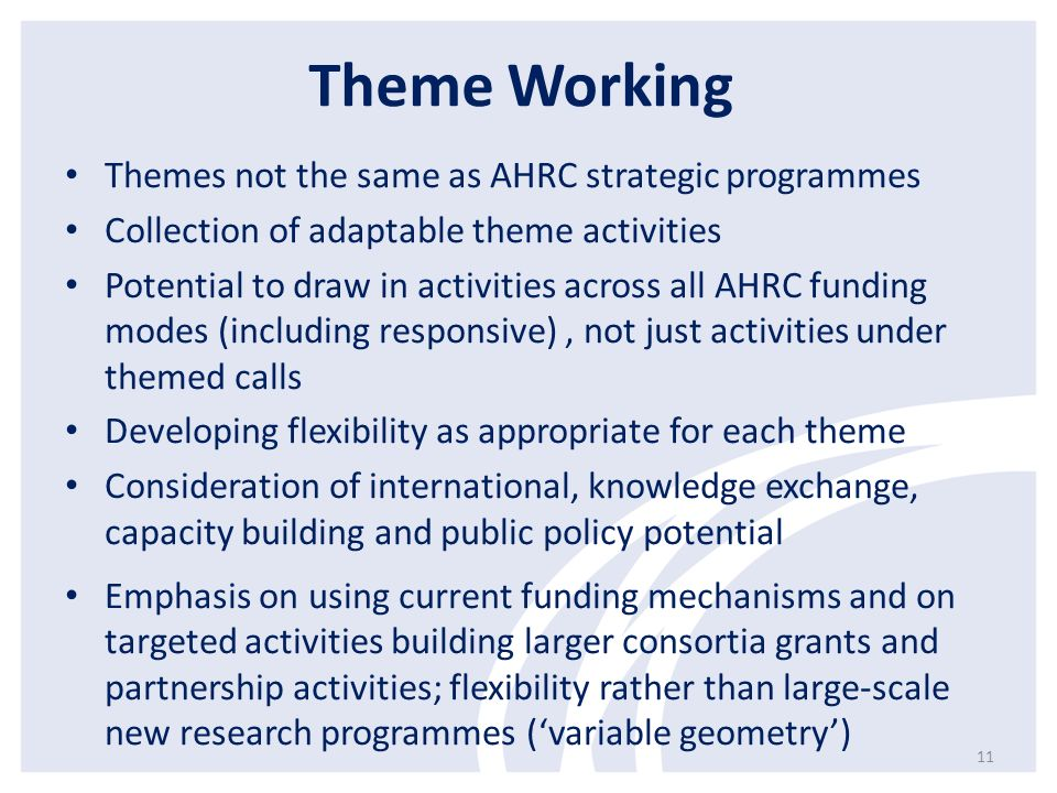 Theme Working Themes not the same as AHRC strategic programmes Collection of adaptable theme activities Potential to draw in activities across all AHR