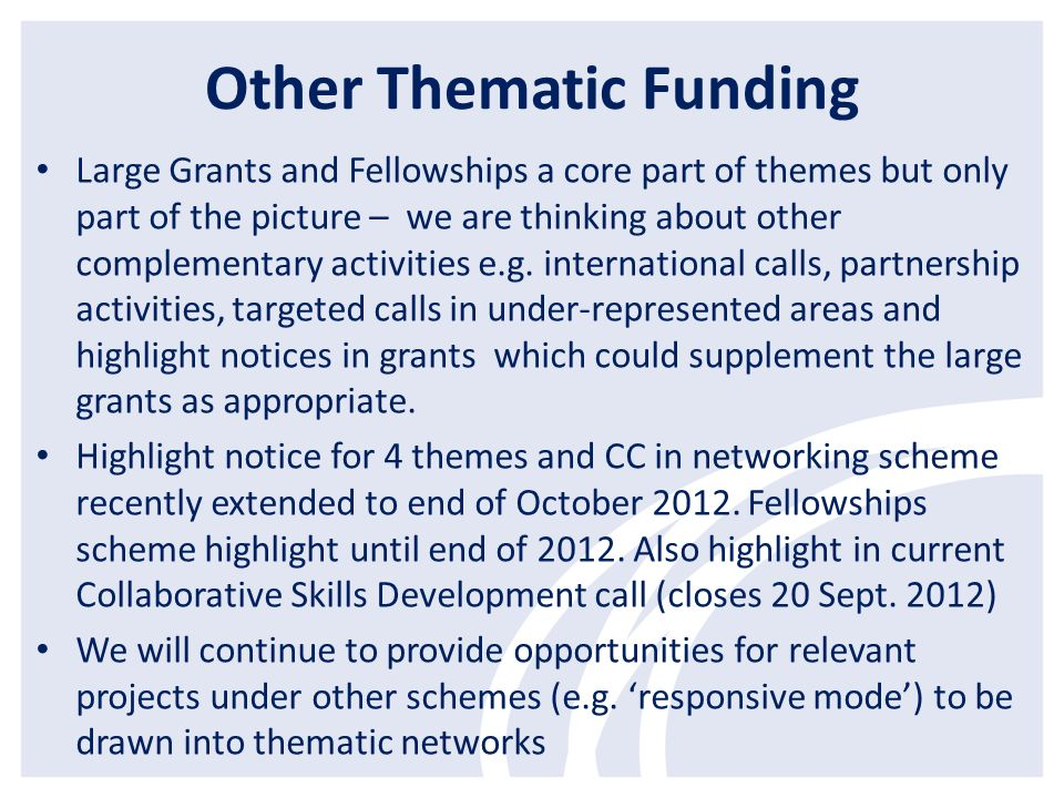 Other Thematic Funding Large Grants and Fellowships a core part of themes but only part of the picture – we are thinking about other complementary act