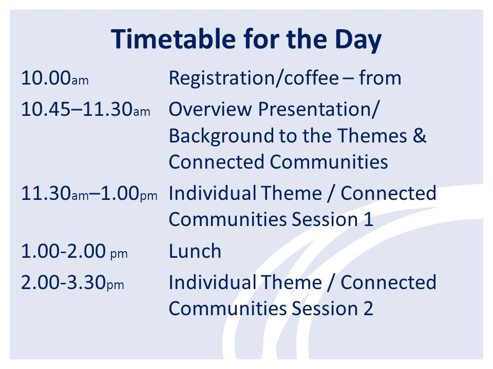 Timetable for the Day 10.00 am Registration/coffee – from 10.45–11.30 am Overview Presentation/ Background to the Themes & Connected Communities 11.30