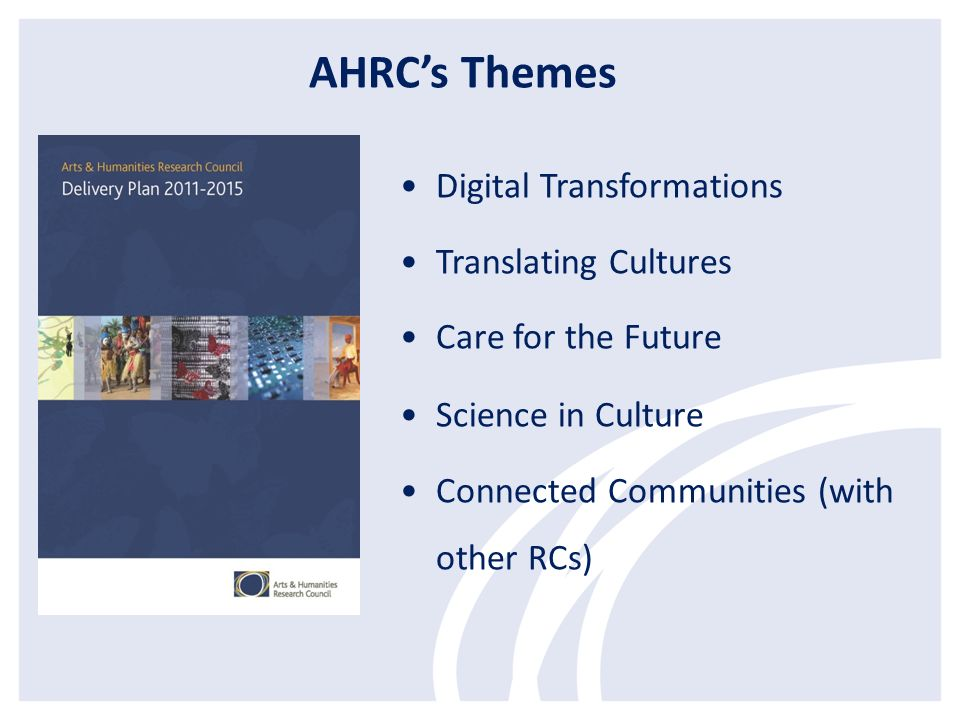 Digital Transformations Translating Cultures Care for the Future Science in Culture Connected Communities (with other RCs) AHRCs Themes