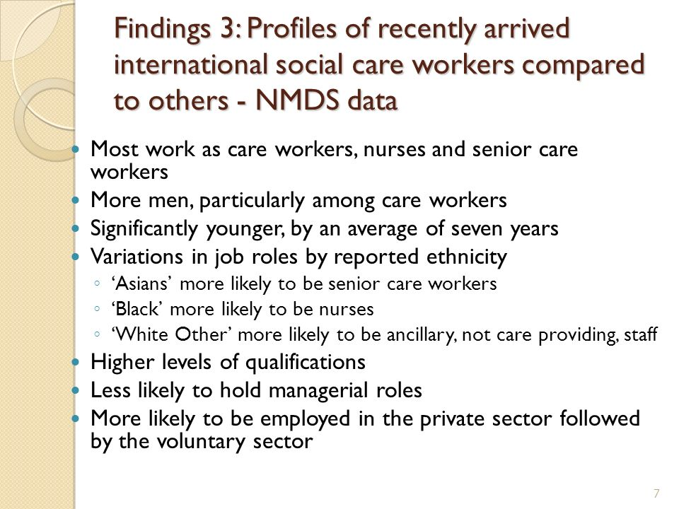 Findings 3: Profiles of recently arrived international social care workers compared to others - NMDS data Most work as care workers, nurses and senior