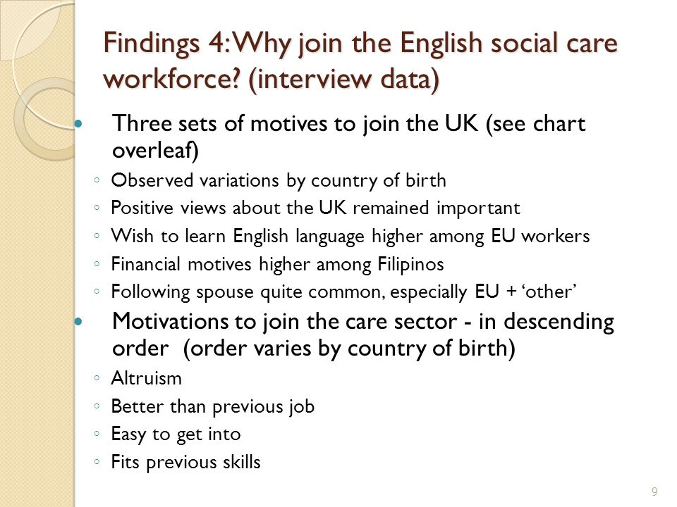 Findings 4: Why join the English social care workforce? (interview data) Three sets of motives to join the UK (see chart overleaf) Observed variations