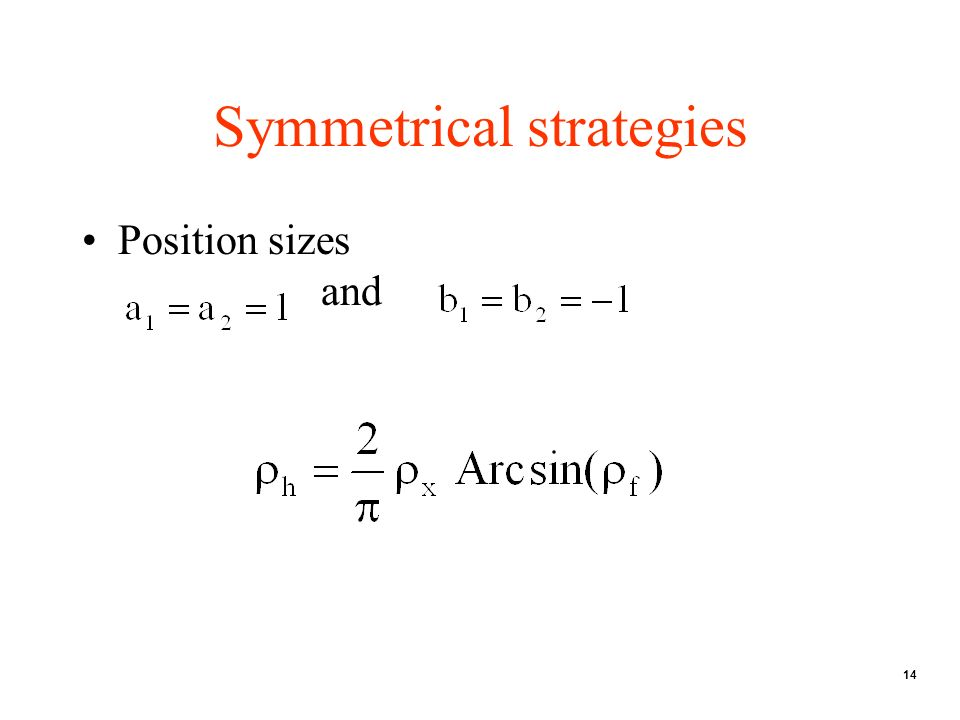 14 Symmetrical strategies Position sizes and