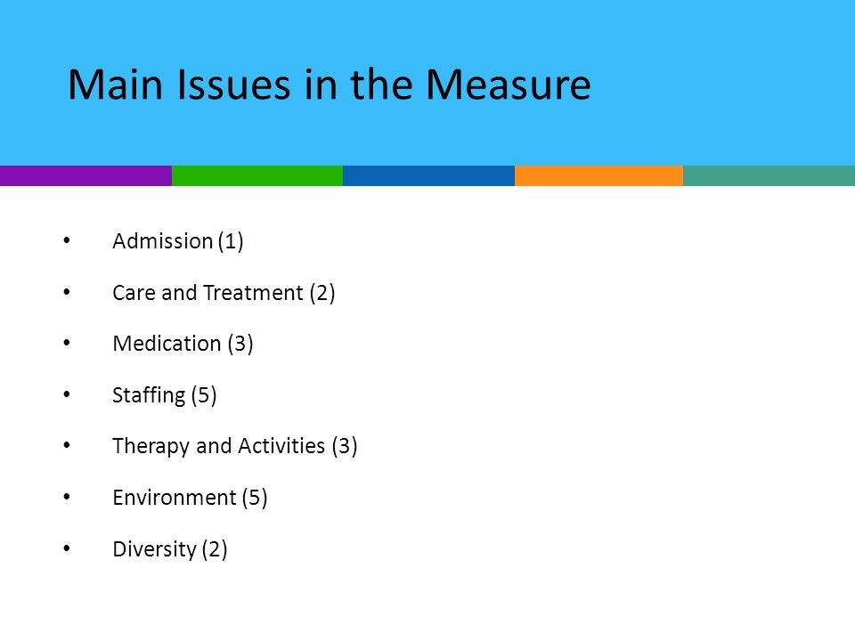 Main Issues in the Measure Admission (1) Care and Treatment (2) Medication (3) Staffing (5) Therapy and Activities (3) Environment (5) Diversity (2)