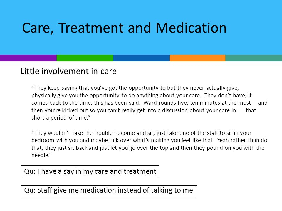 Care, Treatment and Medication Little involvement in care They keep saying that youve got the opportunity to but they never actually give, physically