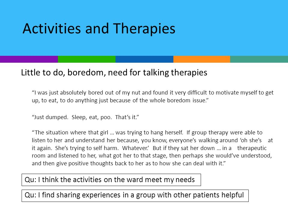 Activities and Therapies Little to do, boredom, need for talking therapies I was just absolutely bored out of my nut and found it very difficult to motivate myself to get up, to eat, to do anything just because of the whole boredom issue.