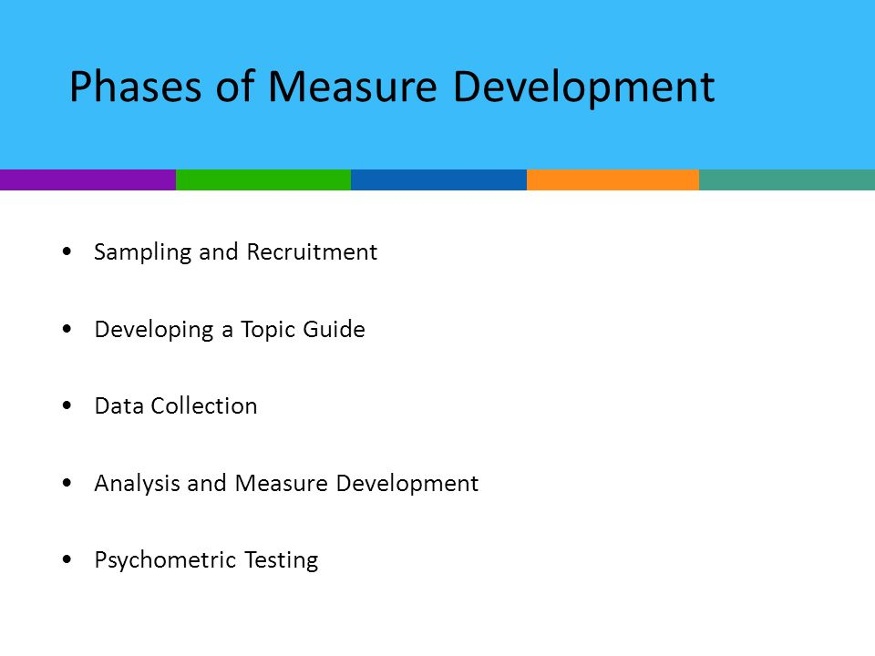 Phases of Measure Development Sampling and Recruitment Developing a Topic Guide Data Collection Analysis and Measure Development Psychometric Testing
