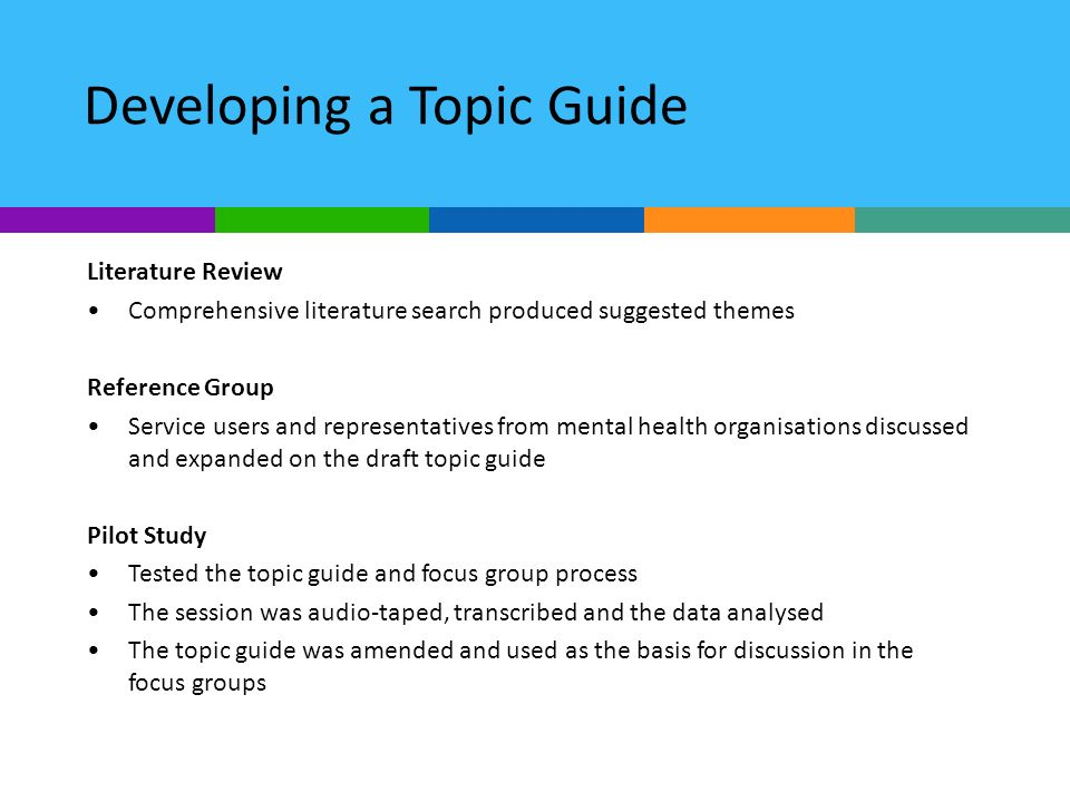 Developing a Topic Guide Literature Review Comprehensive literature search produced suggested themes Reference Group Service users and representatives from mental health organisations discussed and expanded on the draft topic guide Pilot Study Tested the topic guide and focus group process The session was audio-taped, transcribed and the data analysed The topic guide was amended and used as the basis for discussion in the focus groups