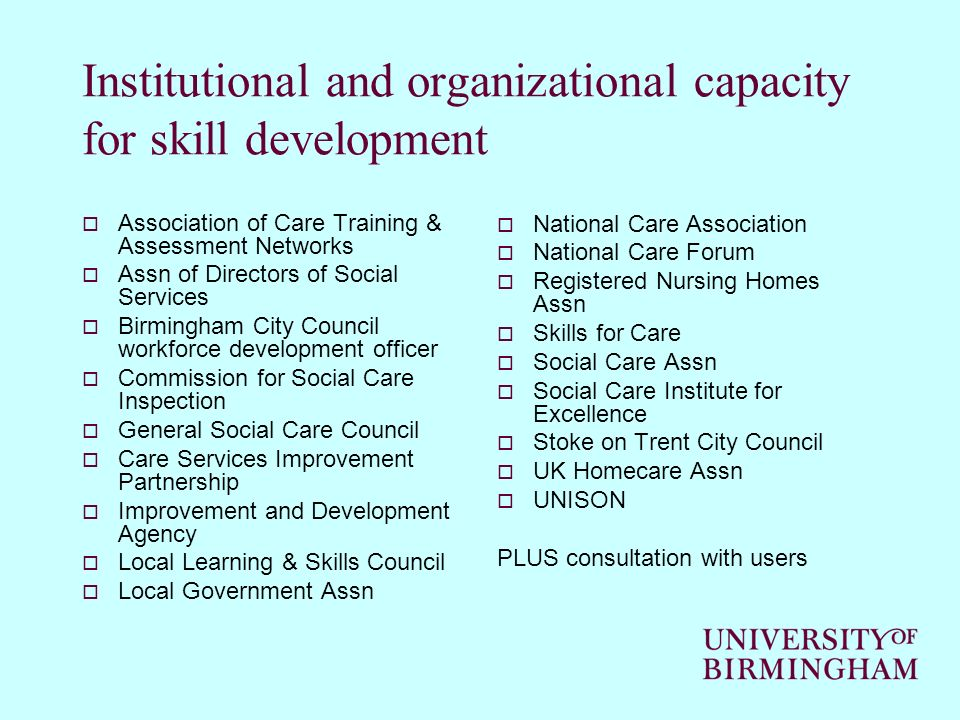 Institutional and organizational capacity for skill development Association of Care Training & Assessment Networks Assn of Directors of Social Service
