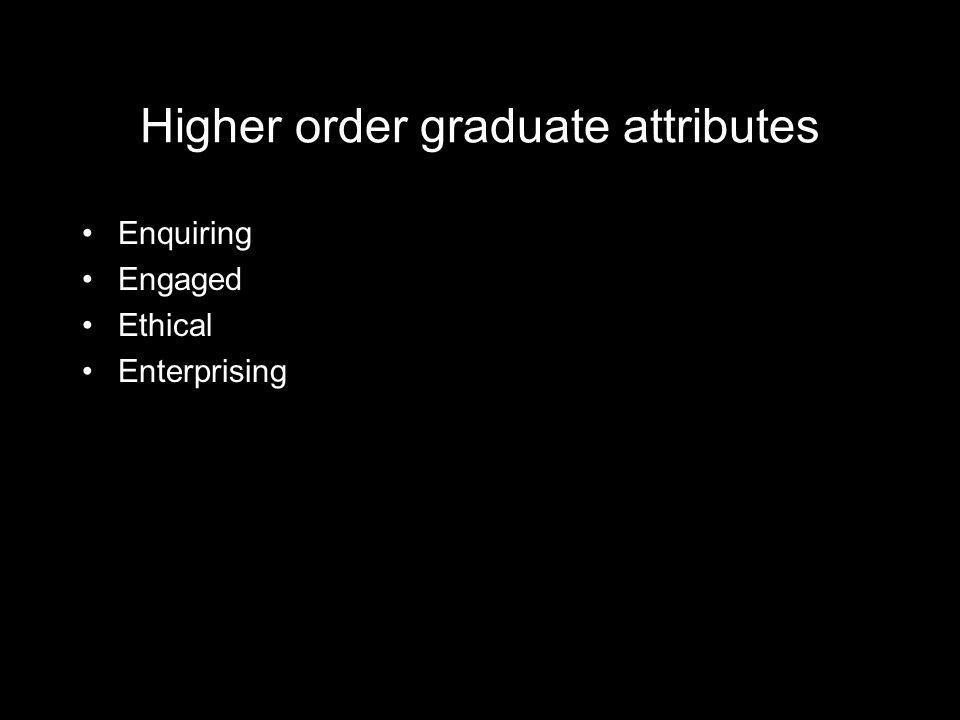 Higher order graduate attributes Enquiring Engaged Ethical Enterprising