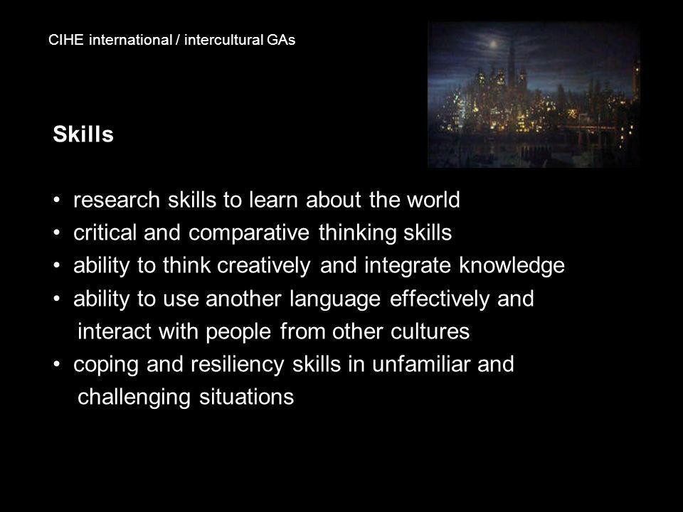 CIHE international / intercultural GAs Skills research skills to learn about the world critical and comparative thinking skills ability to think creat