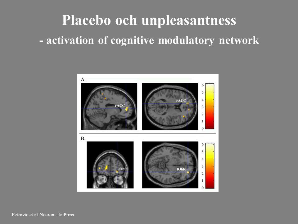 Placebo och unpleasantness - activation of cognitive modulatory network Petrovic et al Neuron - In Press