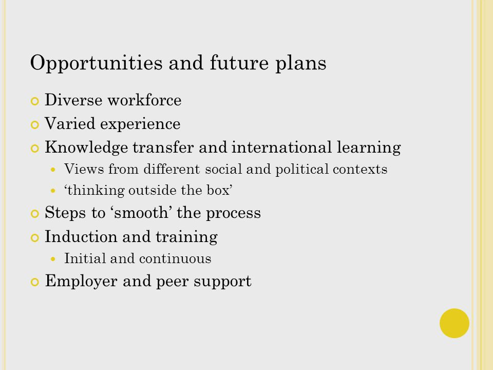Opportunities and future plans Diverse workforce Varied experience Knowledge transfer and international learning Views from different social and political contexts thinking outside the box Steps to smooth the process Induction and training Initial and continuous Employer and peer support