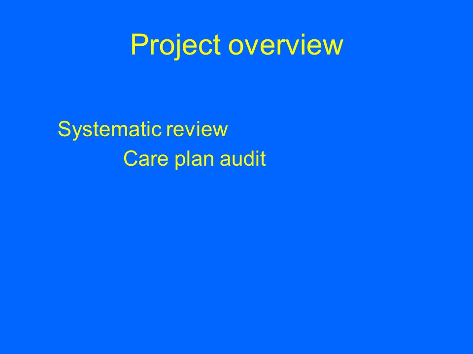 Project overview Systematic review Care plan audit