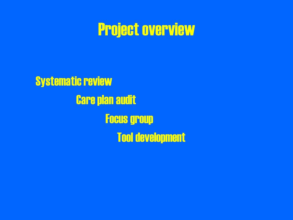 Project overview Systematic review Care plan audit Focus group Tool development