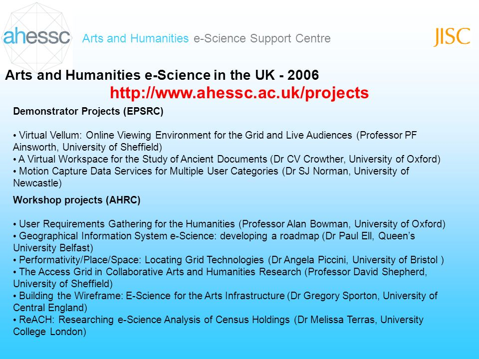 Arts and Humanities e-Science Support Centre Arts and Humanities e-Science in the UK - 2006 Workshop projects (AHRC) User Requirements Gathering for the Humanities (Professor Alan Bowman, University of Oxford) Geographical Information System e-Science: developing a roadmap (Dr Paul Ell, Queens University Belfast) Performativity/Place/Space: Locating Grid Technologies (Dr Angela Piccini, University of Bristol ) The Access Grid in Collaborative Arts and Humanities Research (Professor David Shepherd, University of Sheffield) Building the Wireframe: E-Science for the Arts Infrastructure (Dr Gregory Sporton, University of Central England) ReACH: Researching e-Science Analysis of Census Holdings (Dr Melissa Terras, University College London) Demonstrator Projects (EPSRC) Virtual Vellum: Online Viewing Environment for the Grid and Live Audiences (Professor PF Ainsworth, University of Sheffield) A Virtual Workspace for the Study of Ancient Documents (Dr CV Crowther, University of Oxford) Motion Capture Data Services for Multiple User Categories (Dr SJ Norman, University of Newcastle) http://www.ahessc.ac.uk/projects