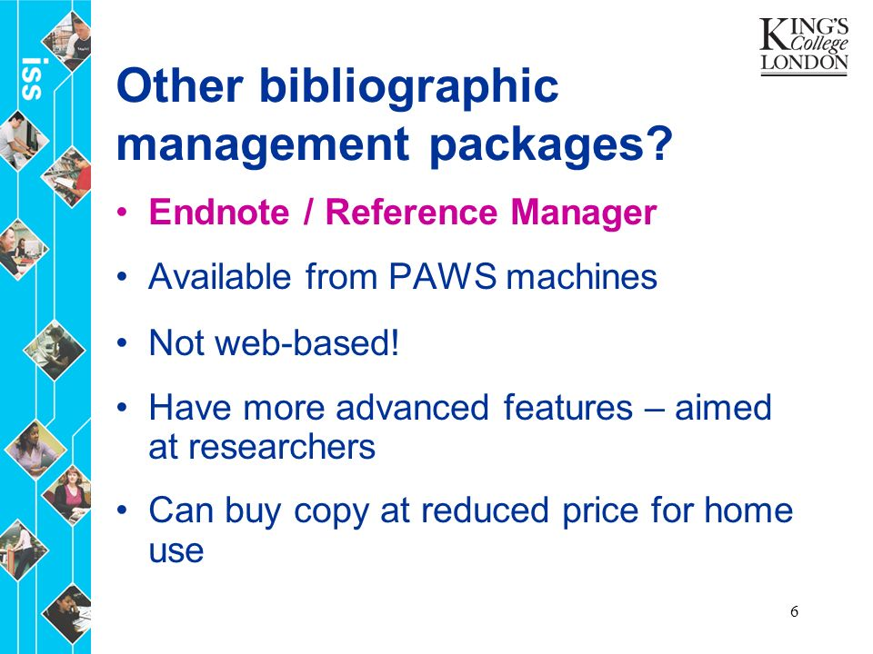 6 Other bibliographic management packages.