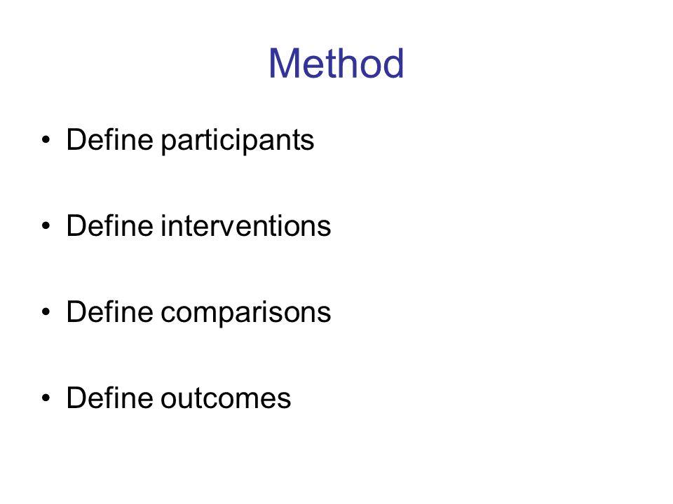 Method Define participants Define interventions Define comparisons Define outcomes