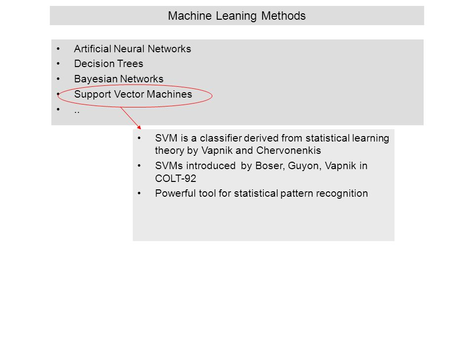 Machine Leaning Methods Artificial Neural Networks Decision Trees Bayesian Networks Support Vector Machines.. SVM is a classifier derived from statist