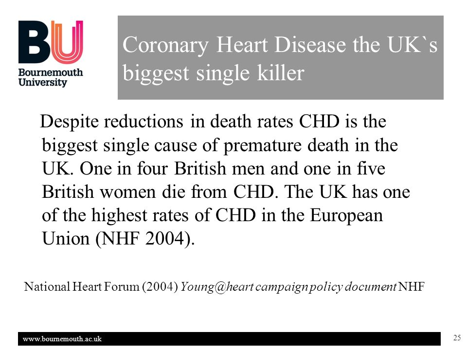 www.bournemouth.ac.uk 25 Coronary Heart Disease the UK`s biggest single killer Despite reductions in death rates CHD is the biggest single cause of premature death in the UK.
