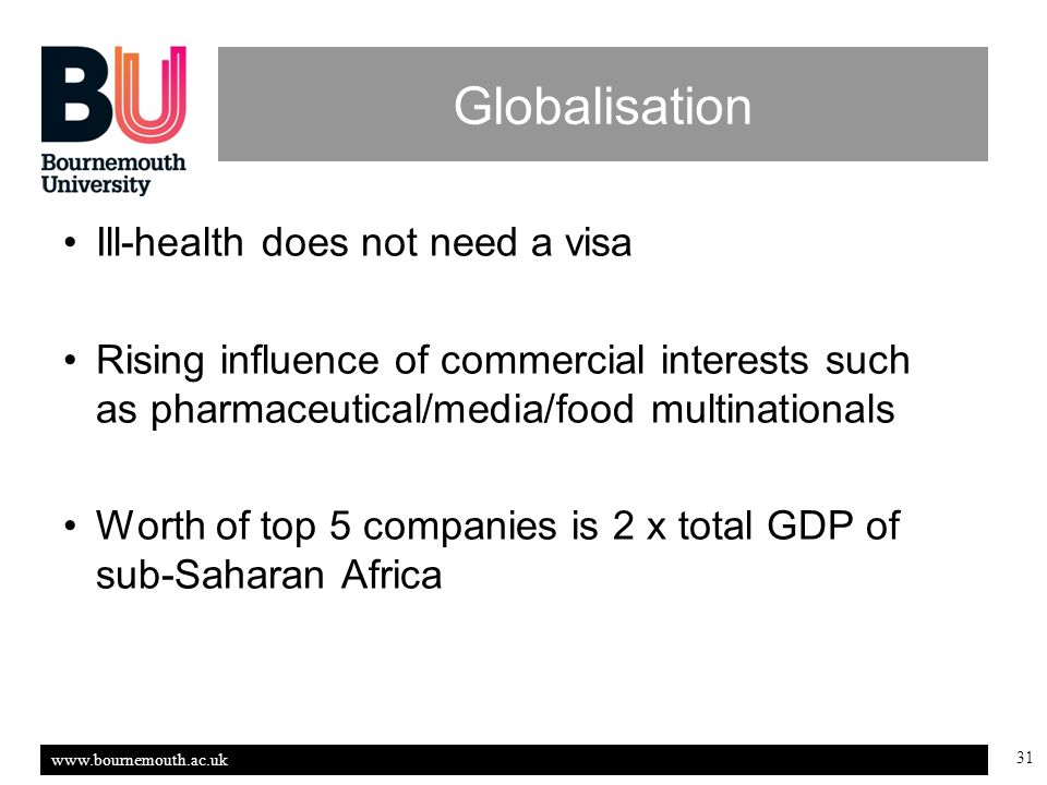 www.bournemouth.ac.uk 31 Globalisation Ill-health does not need a visa Rising influence of commercial interests such as pharmaceutical/media/food multinationals Worth of top 5 companies is 2 x total GDP of sub-Saharan Africa