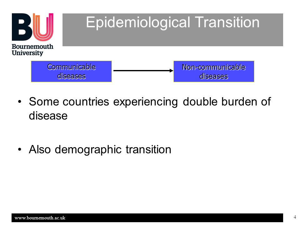 www.bournemouth.ac.uk 4 Epidemiological Transition Some countries experiencing double burden of disease Also demographic transition Non-communicable diseases Communicable diseases