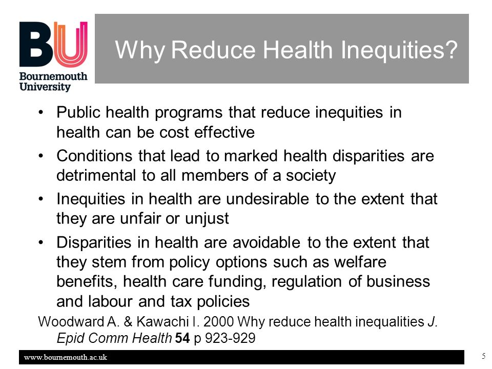 www.bournemouth.ac.uk 5 Why Reduce Health Inequities.