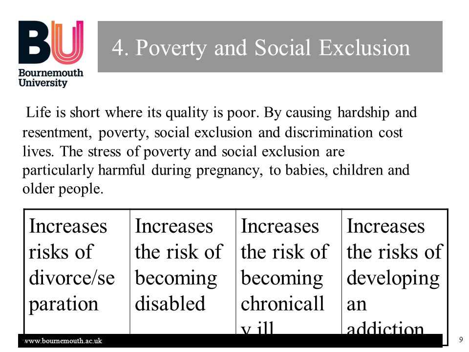 www.bournemouth.ac.uk 9 4. Poverty and Social Exclusion Life is short where its quality is poor.