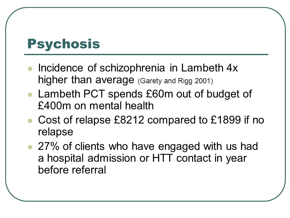 Psychosis Incidence of schizophrenia in Lambeth 4x higher than average (Garety and Rigg 2001) Lambeth PCT spends £60m out of budget of £400m on mental health Cost of relapse £8212 compared to £1899 if no relapse 27% of clients who have engaged with us had a hospital admission or HTT contact in year before referral