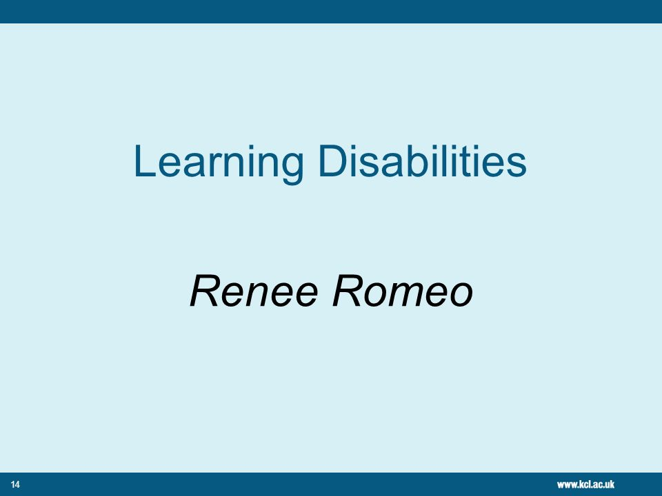 14 Learning Disabilities Renee Romeo
