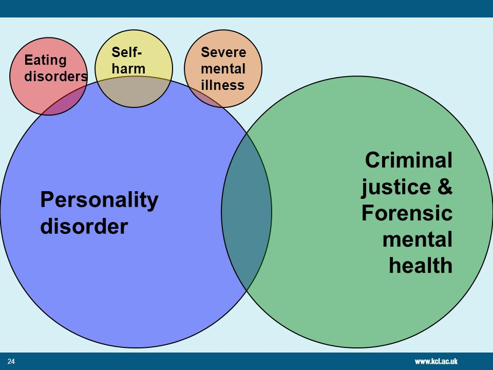 24 Personality disorder Criminal justice & Forensic mental health Eating disorders Self- harm Severe mental illness