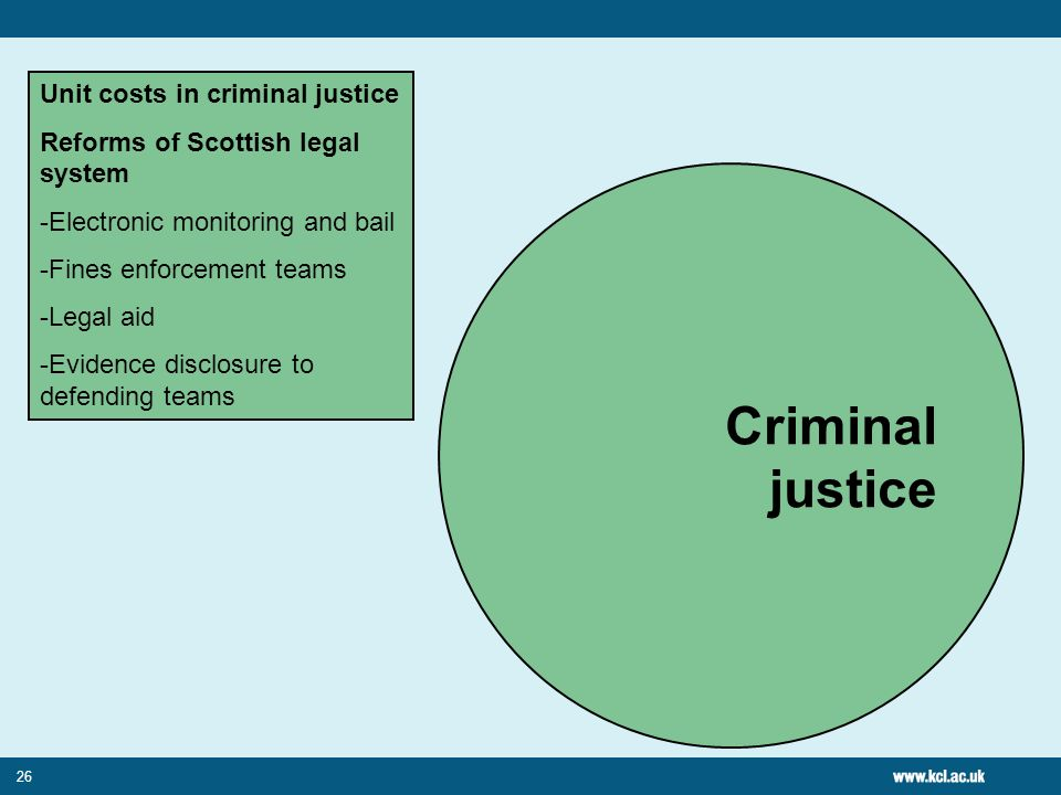 26 Criminal justice Unit costs in criminal justice Reforms of Scottish legal system -Electronic monitoring and bail -Fines enforcement teams -Legal ai